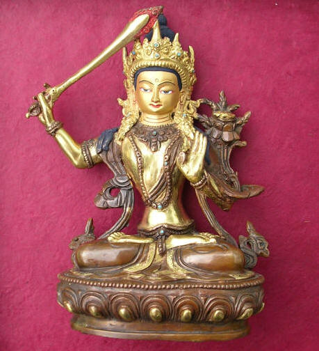 Manjushri Statue Copper and 24 Cart Gold