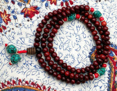 Red Sandalwood Mala with Turquoise and Coral Markers