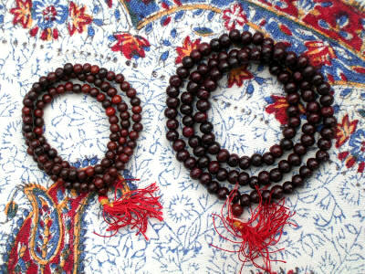 Red Sandalwood Mala Beads - Sizes 6mm and 8mm